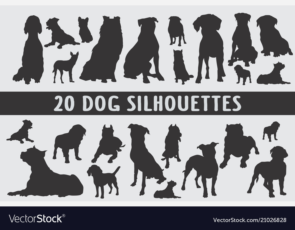 20 dogs different set designed in vintage style