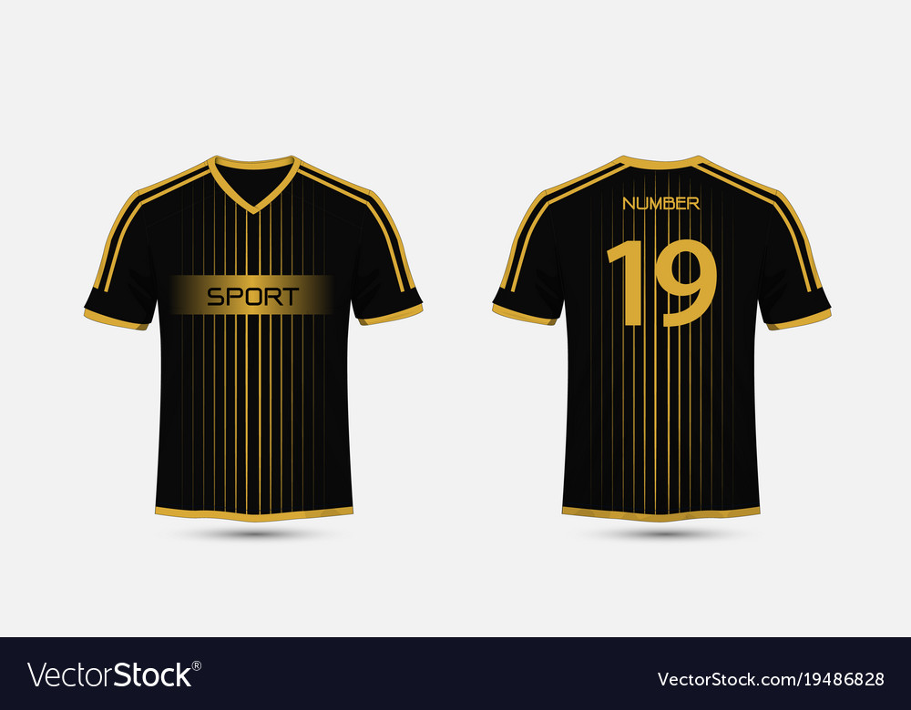 Black and gold pattern sport football kits Vector Image cc883be22