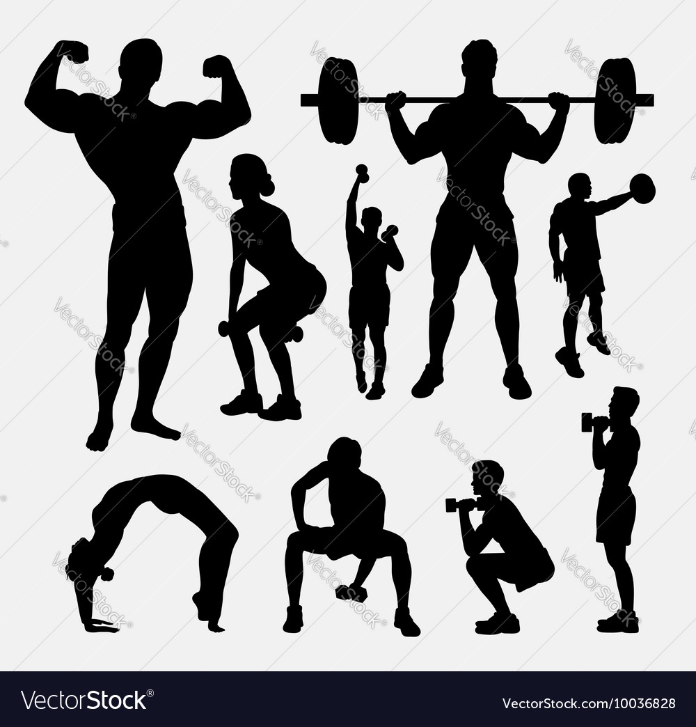 Body Builder Male And Female Sport Silhouette Vector Image
