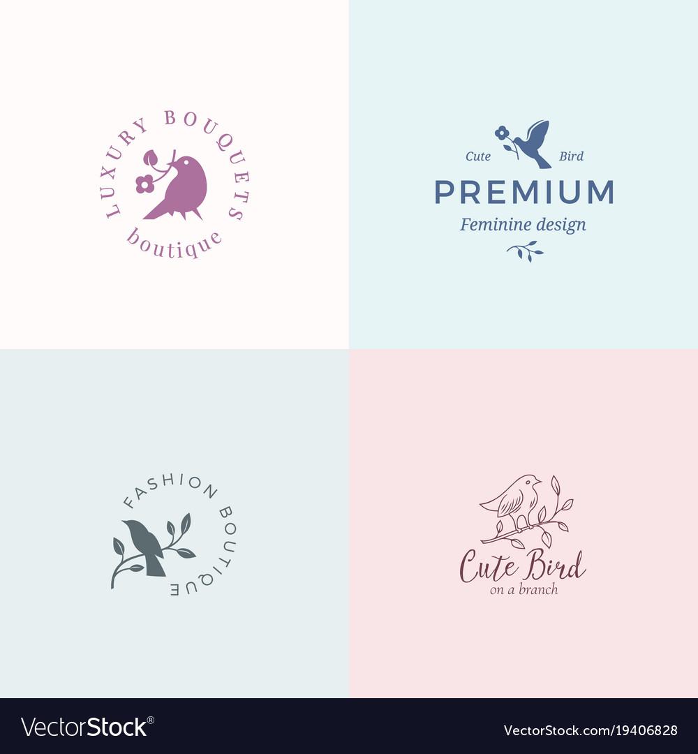cute little bird signs or logo templates vector image