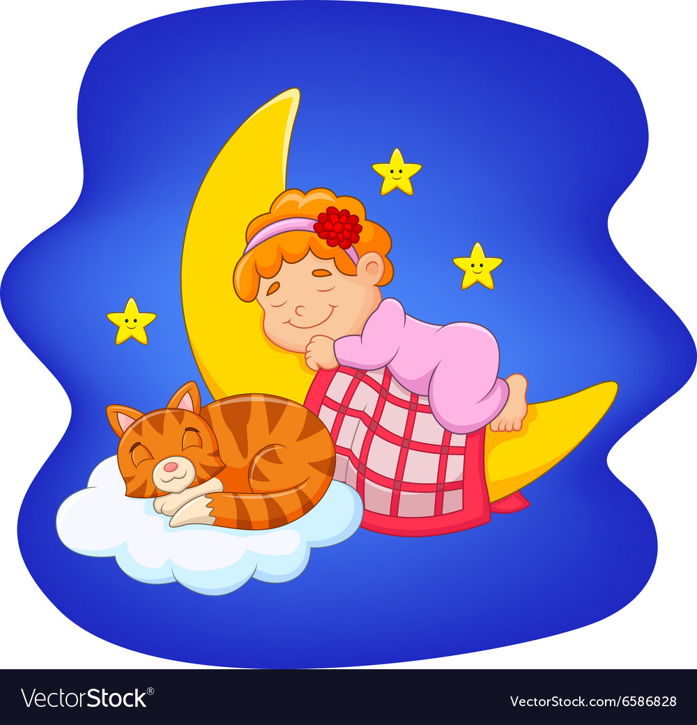 Cute little girl with cat sleeping on the moon
