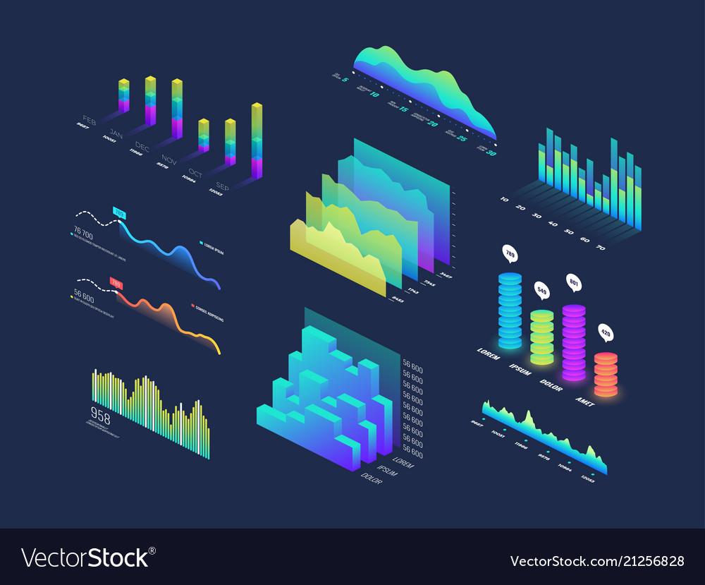Future tech 3d isometric data finance graphic