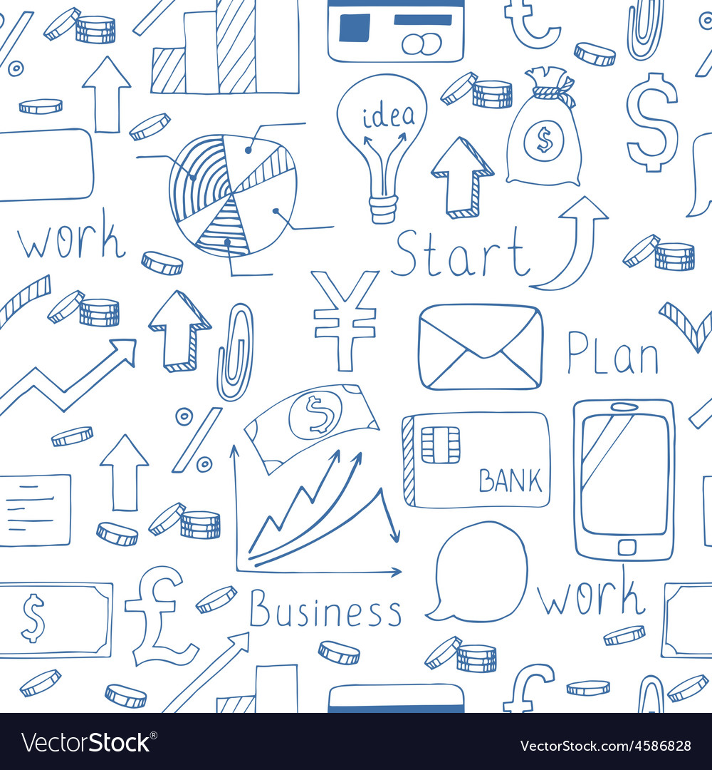 Hand drawn seamless pattern with business icons