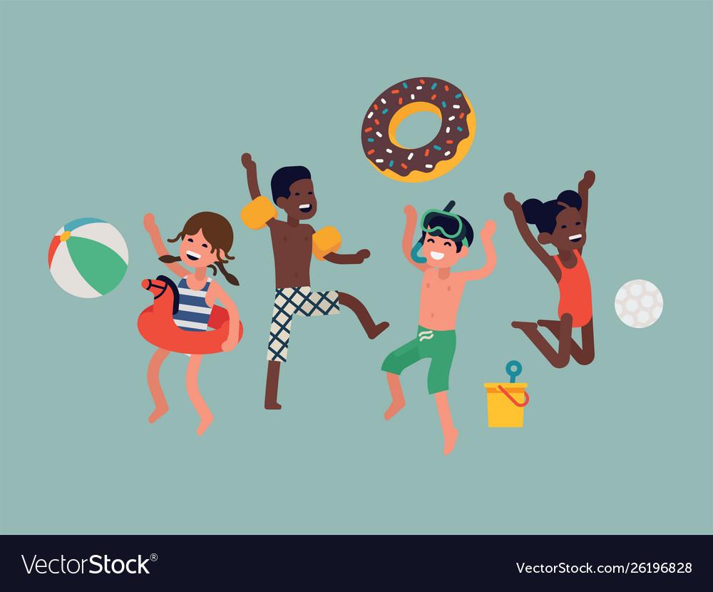 Happy beach summer kids