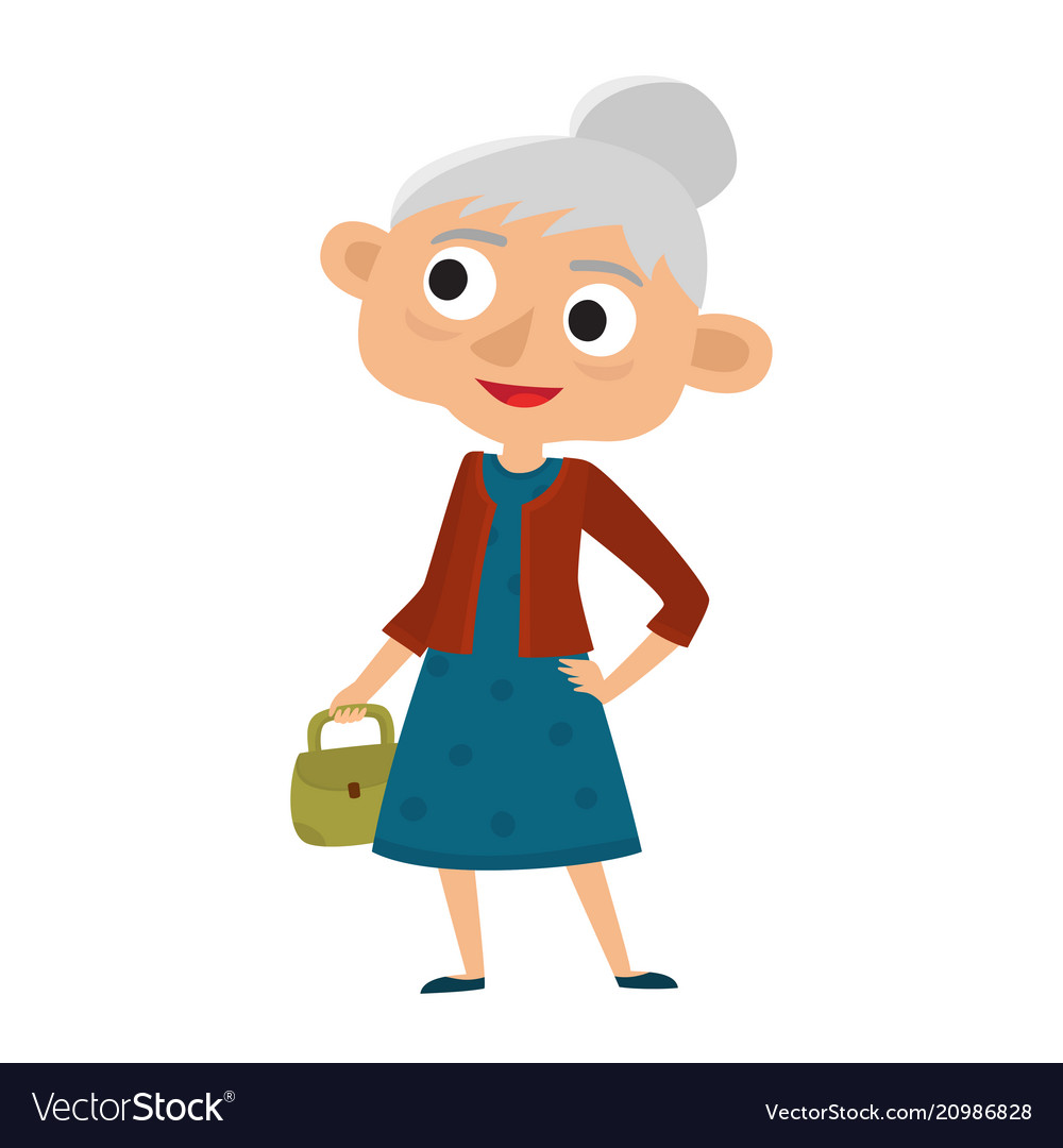 Happy senior lady with silver hair with bag