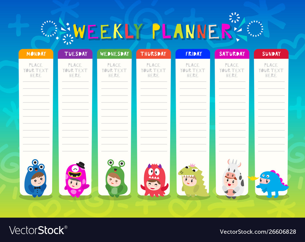 image about Cute Weekly Planner titled Young children weekly planner with adorable monster cartoon