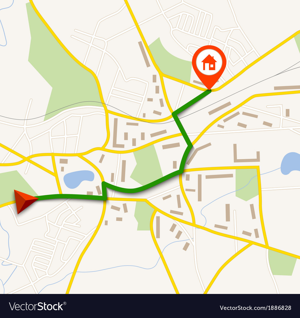 Navigation map with pin
