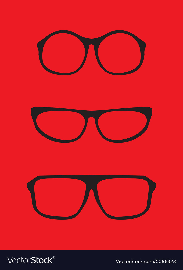 Red nerd glasses for professor or secretary