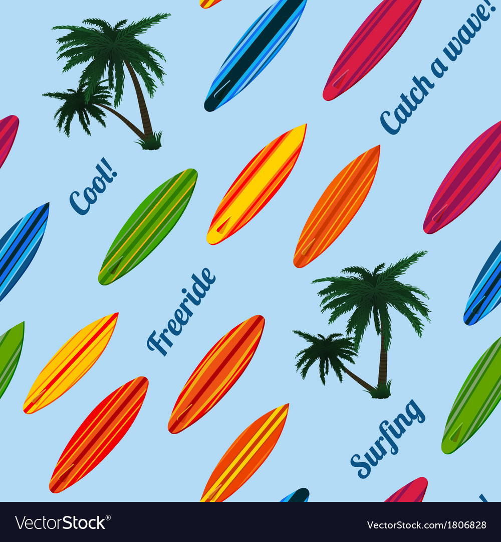 Seamless vacation pattern with surfboards