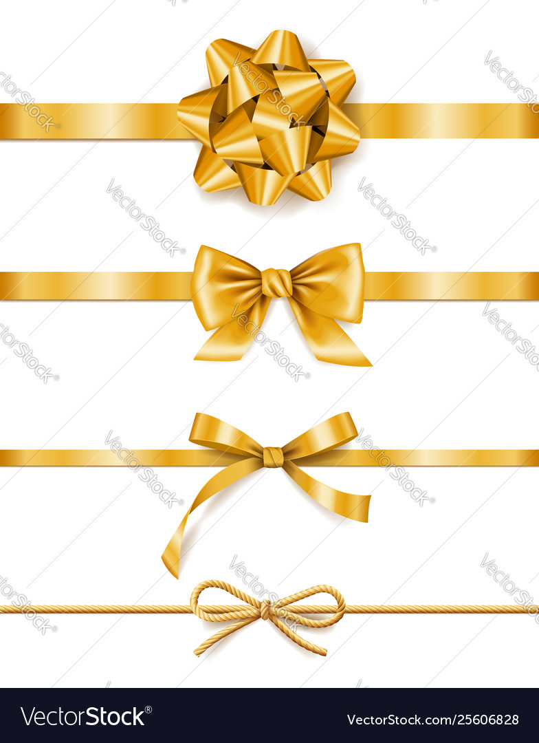 Set golden ribbons with bows decoration