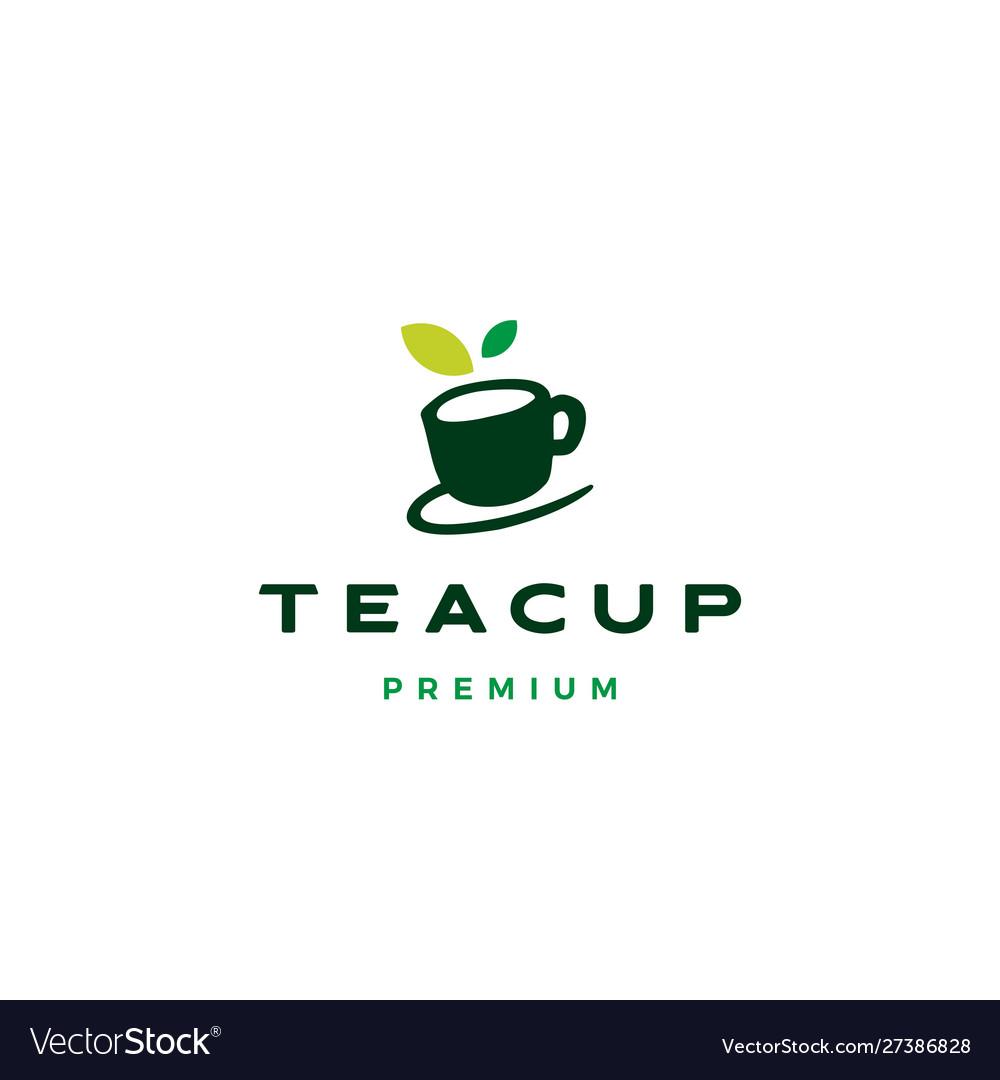Tea cup leaf logo icon