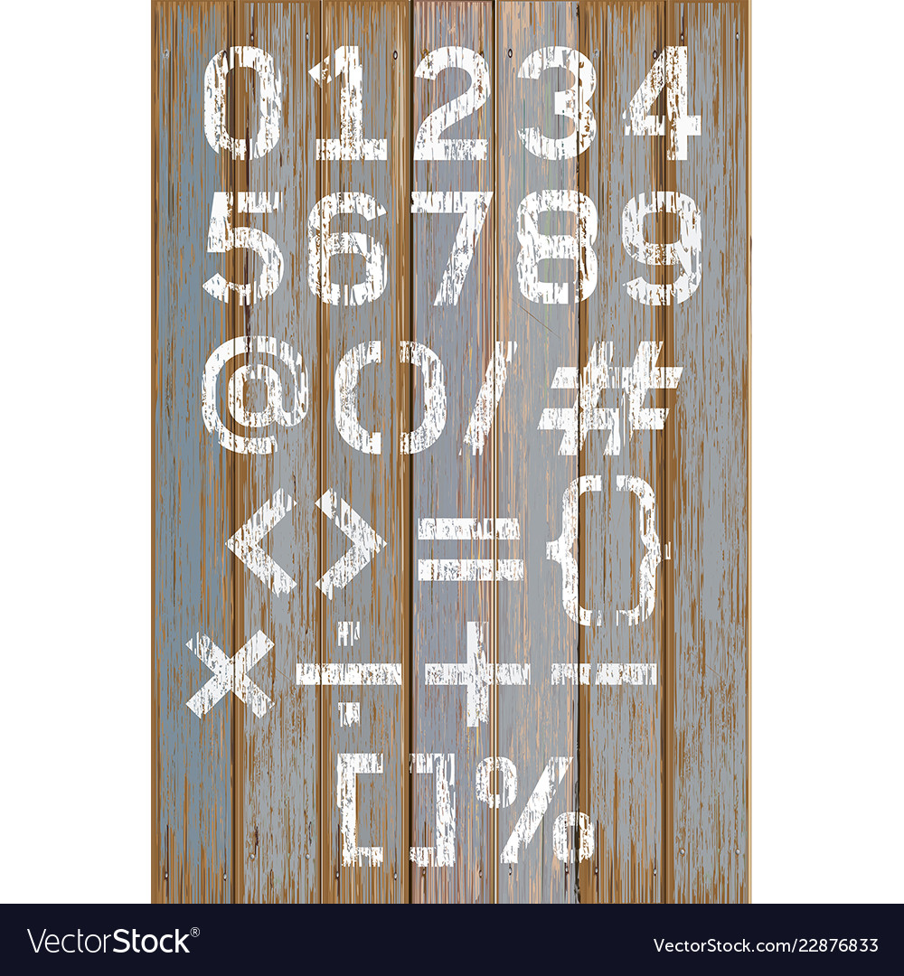 Alphabet number white color paint on wood