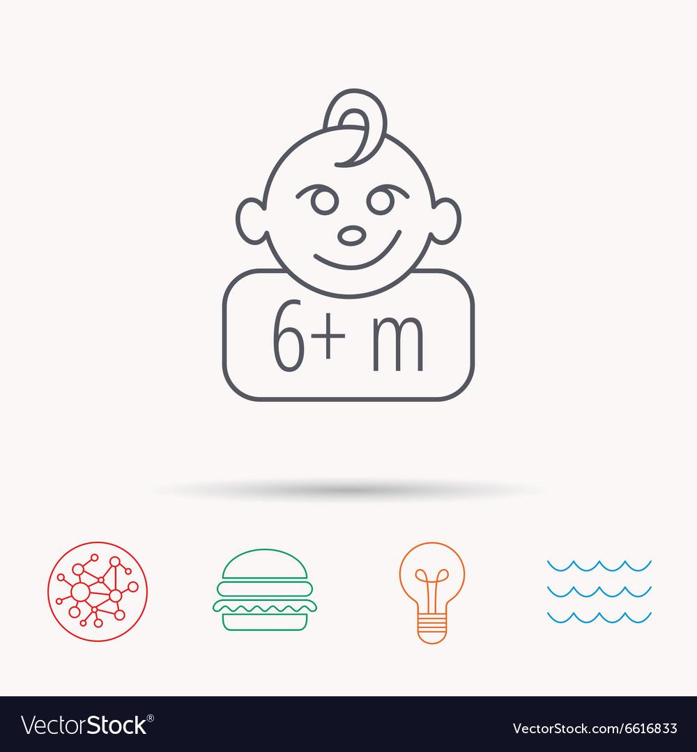 Baby face icon Newborn child sign