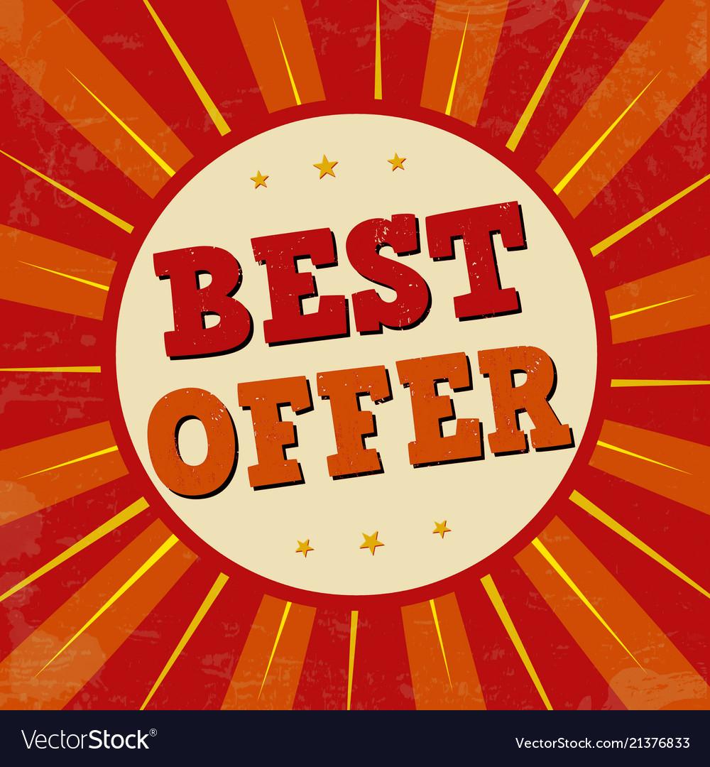 Best offer banner or label for business promotion