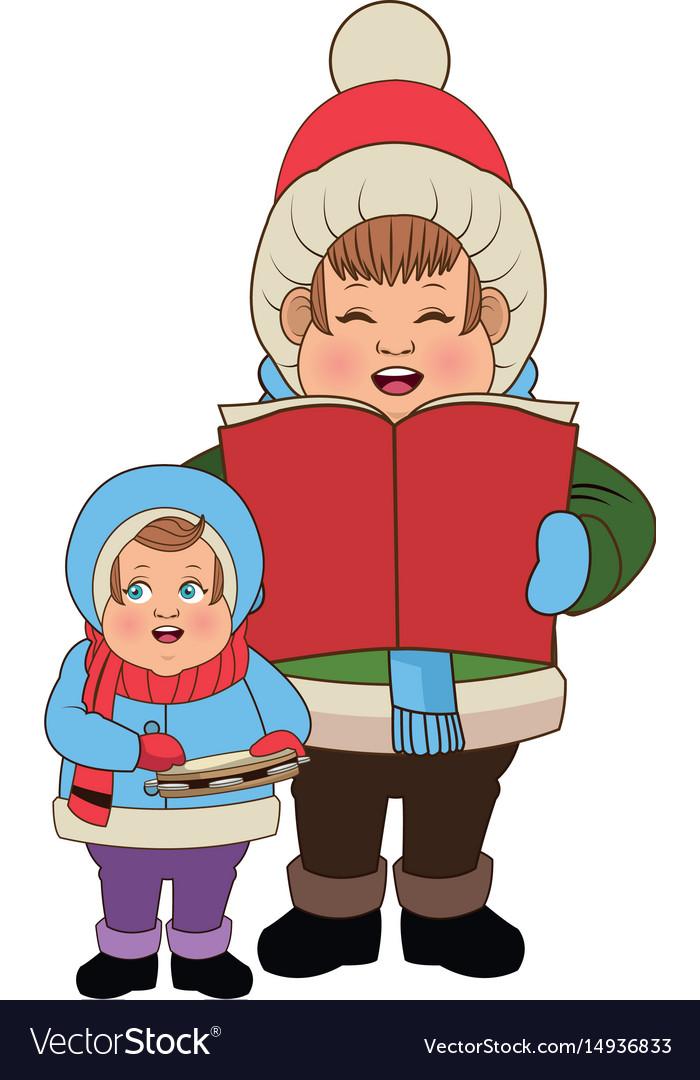 Cartoon man and son choir singing for christmas