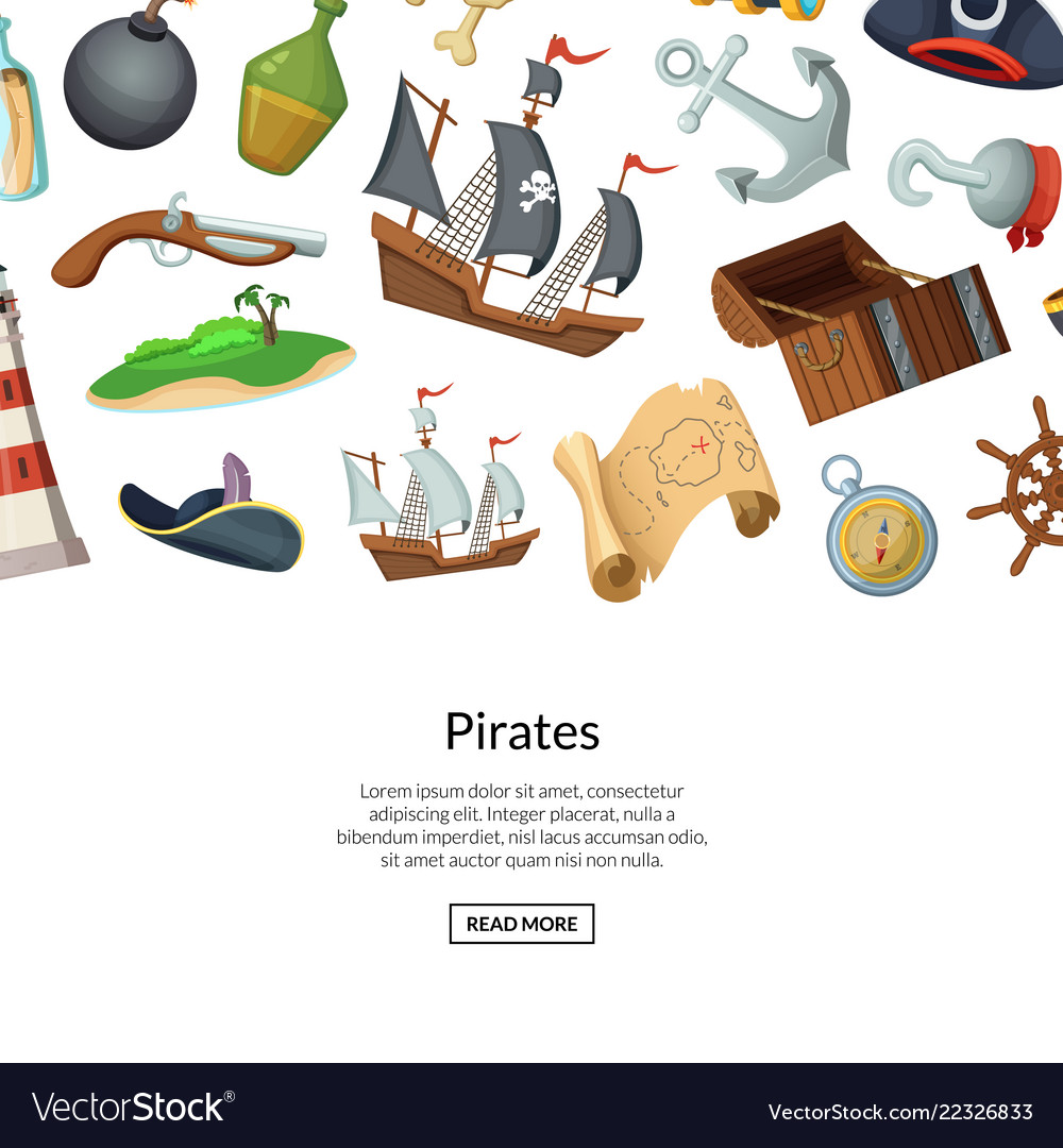 Cartoon sea pirates background