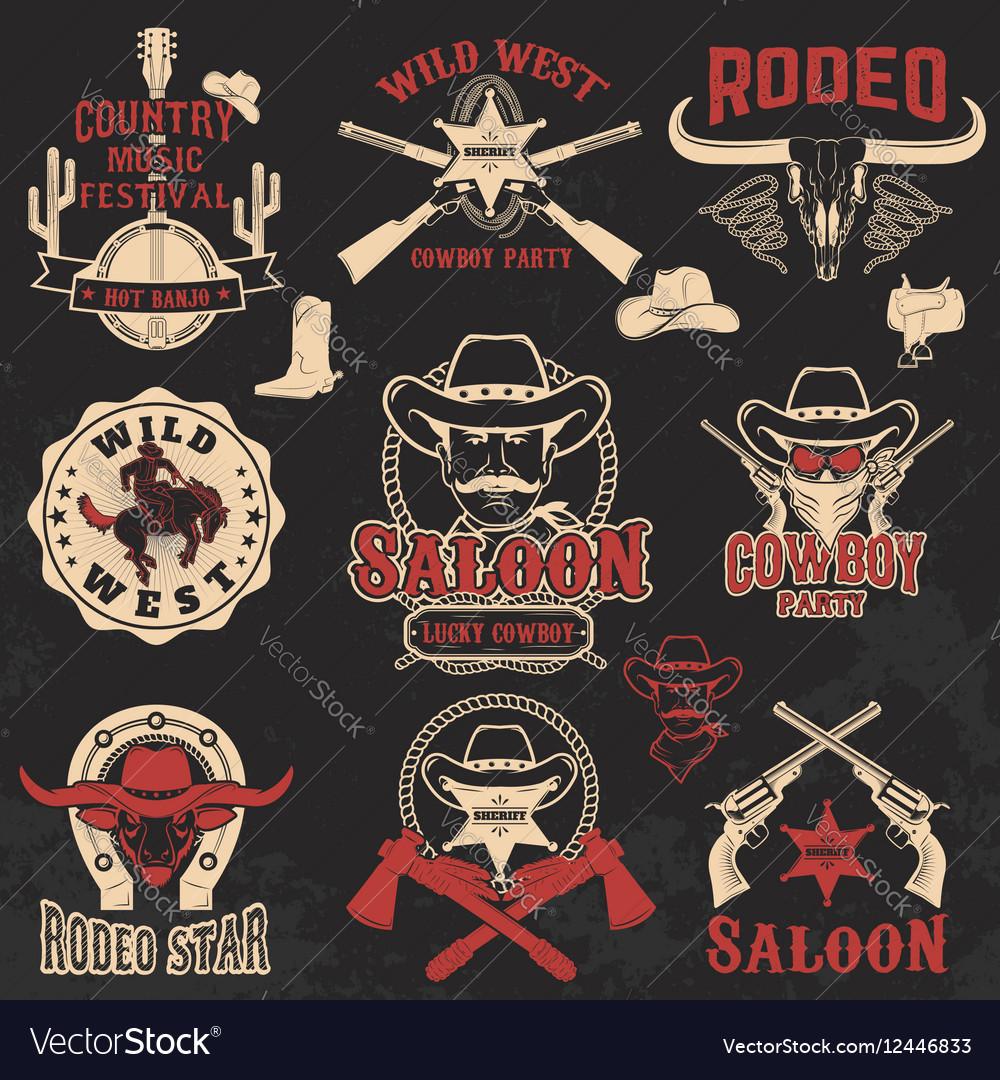 Cowboy rodeo wild west labels
