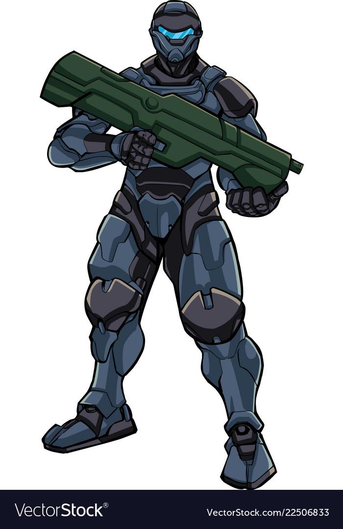 Futuristic soldier standing