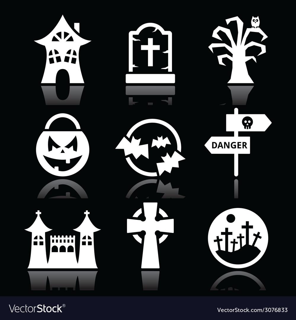 Halloween white icons set on black