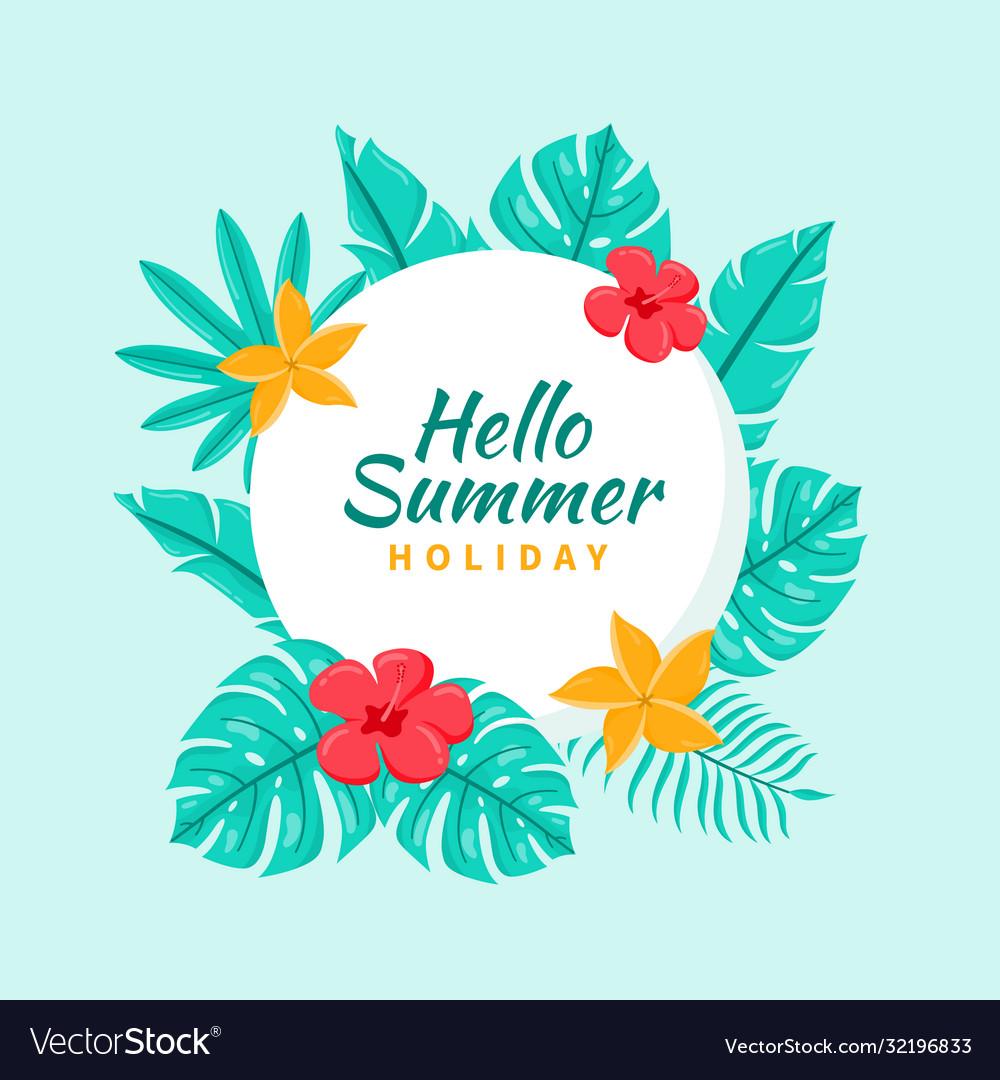 Hand drawn tropical hello summer background