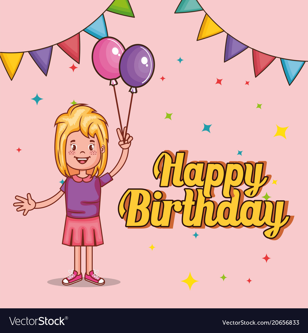 happy birthday card with little girl royalty free vector