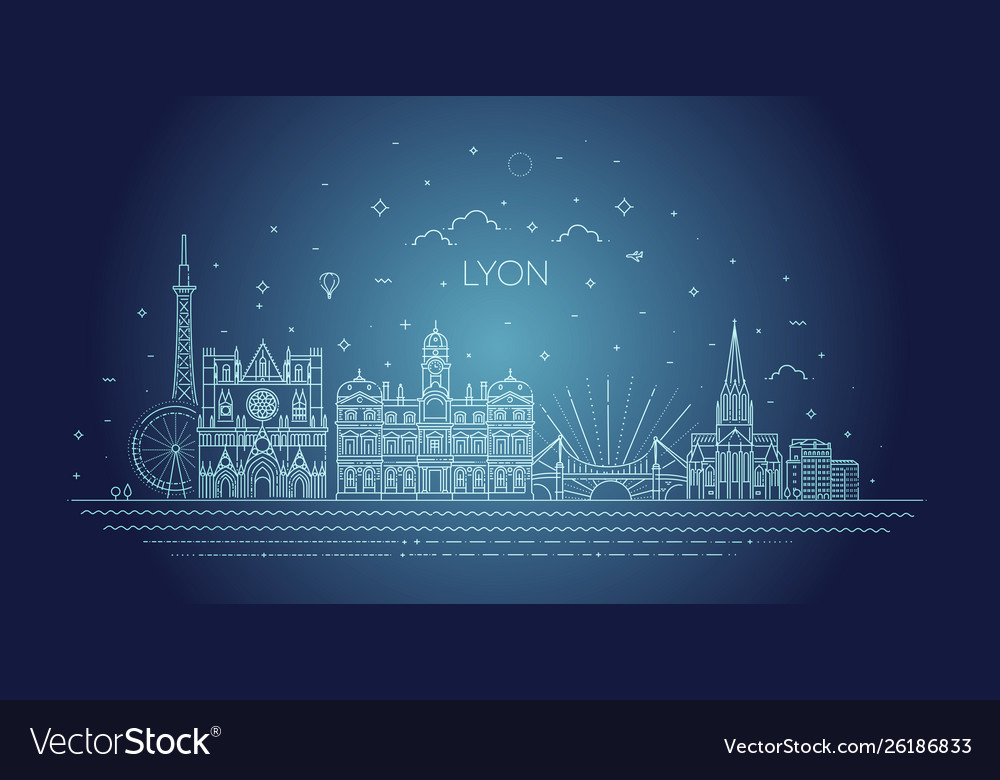 Lyon skyline with panorama in white background
