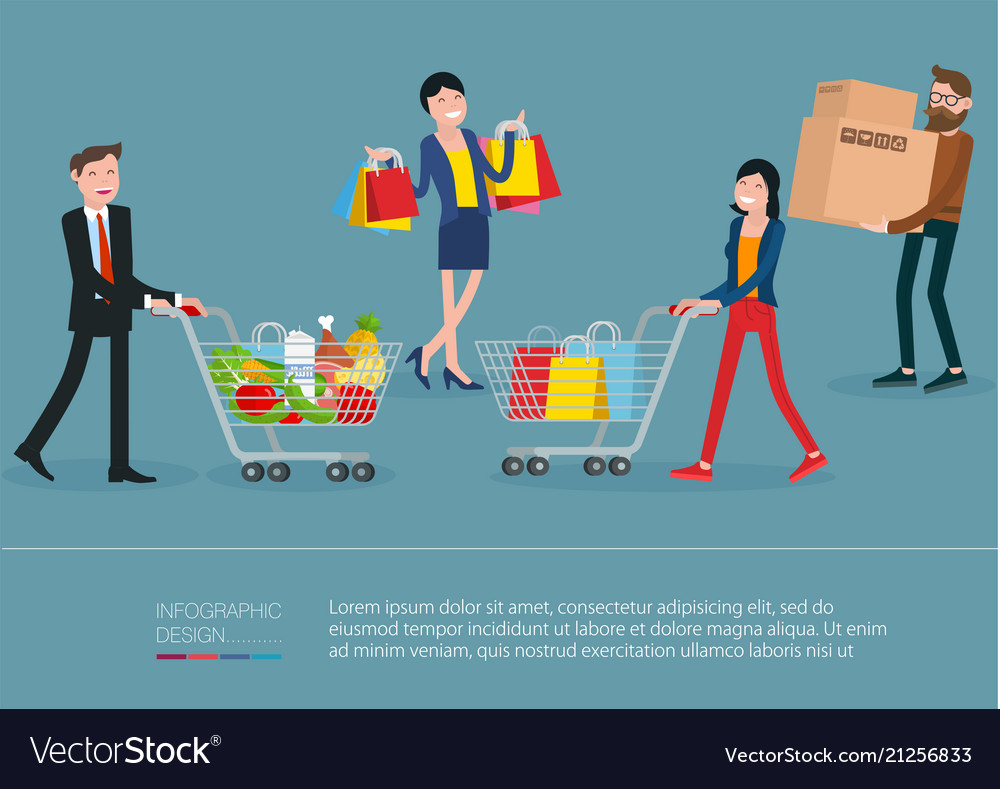 Men and women with shopping bags and carts