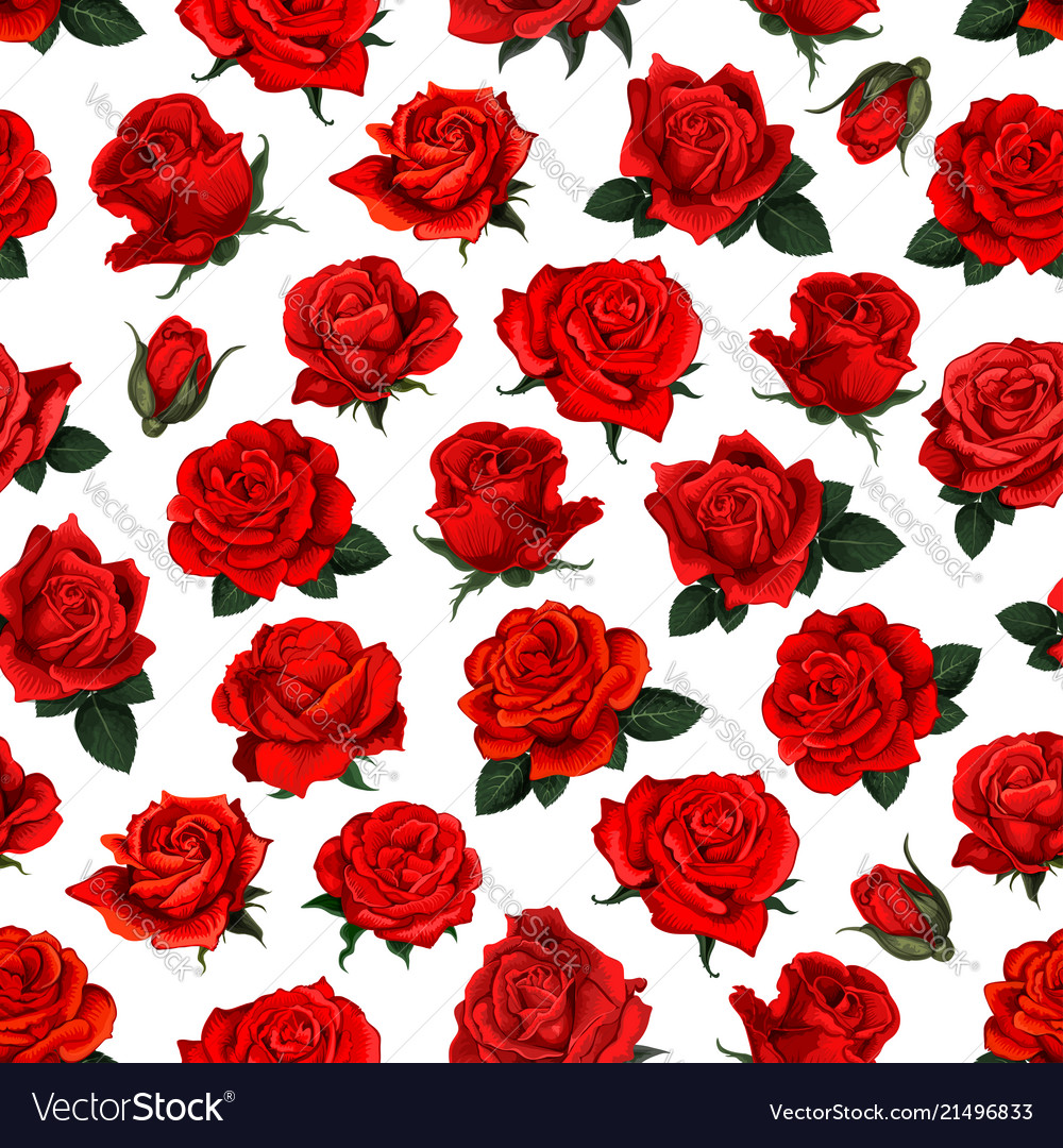 Red rose flower seamless pattern background design