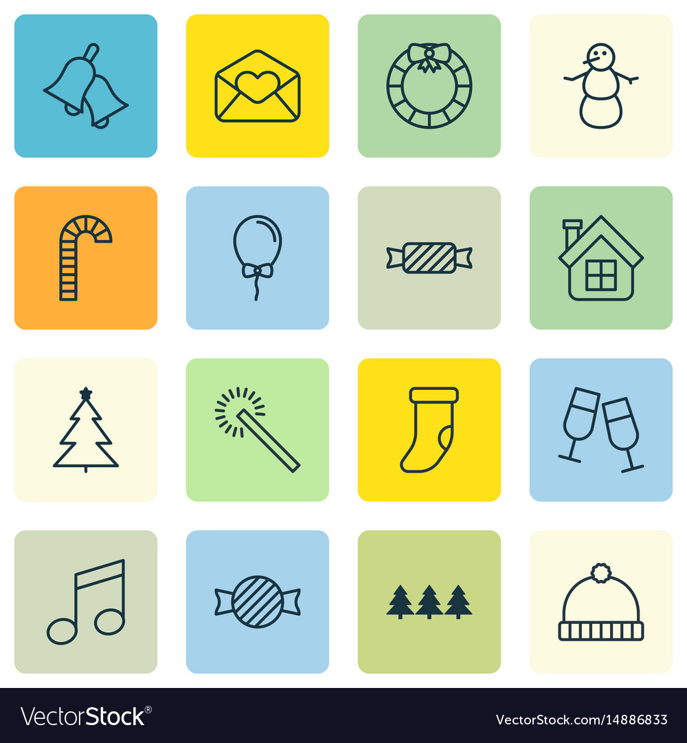 Set of 16 celebration icons includes knitted cap vector image