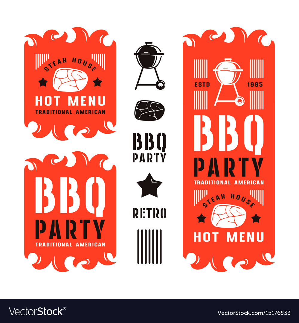Set of barbecue labels and flyers