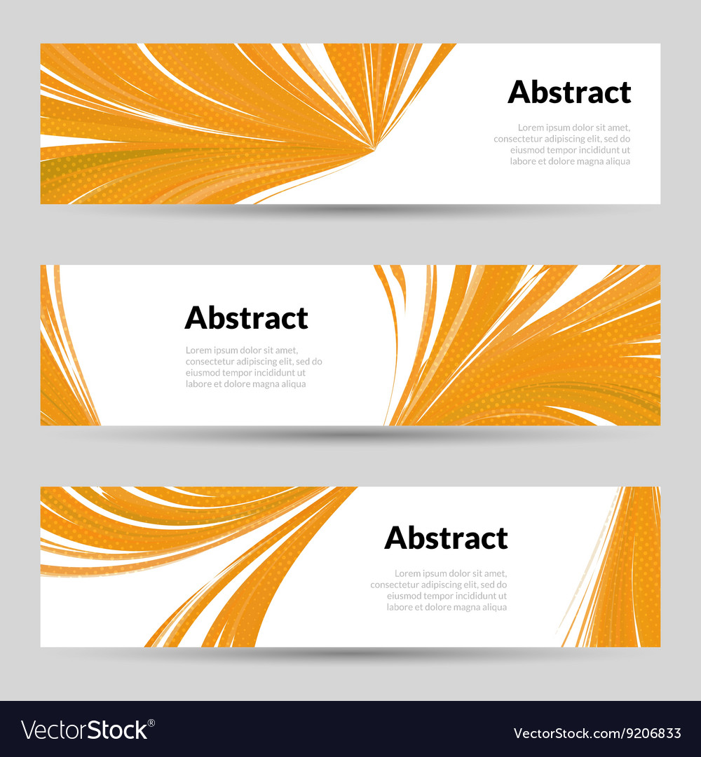 Set of Orange Curved Lines Backgrounds Banners and