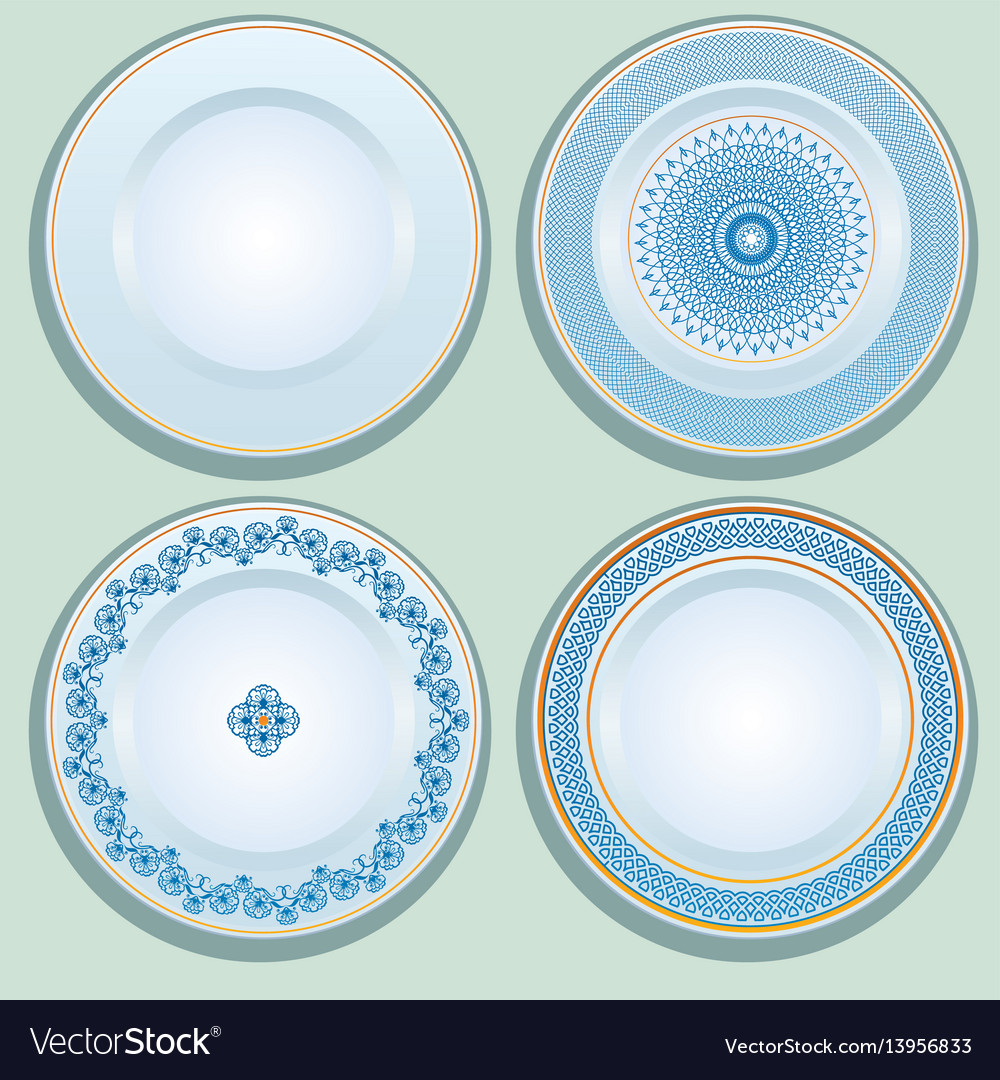 Set white porcelain plate with blue ornament