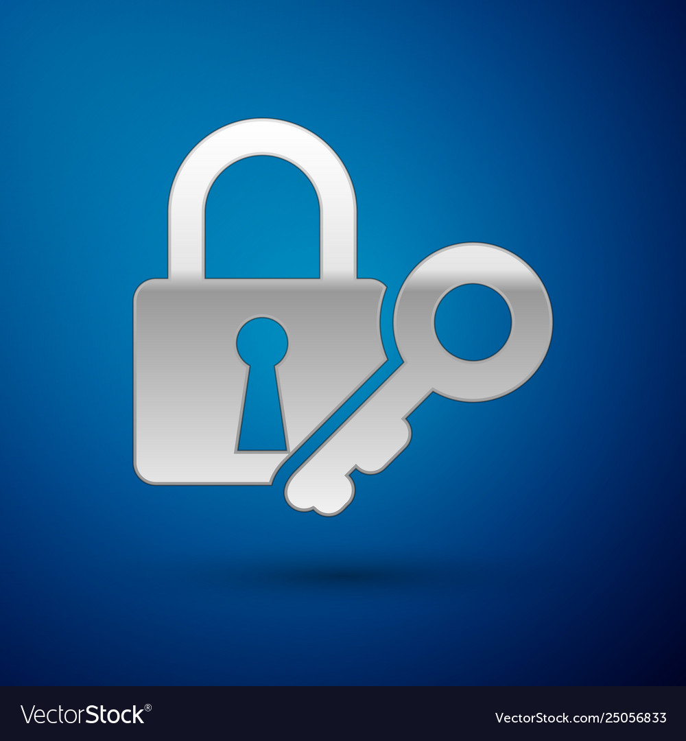 Silver lock and key icon isolated on blue