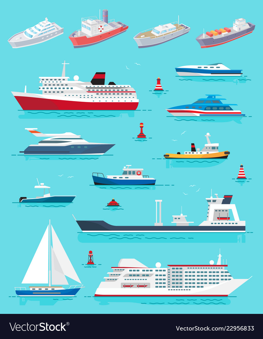 Water transport different kinds of ships