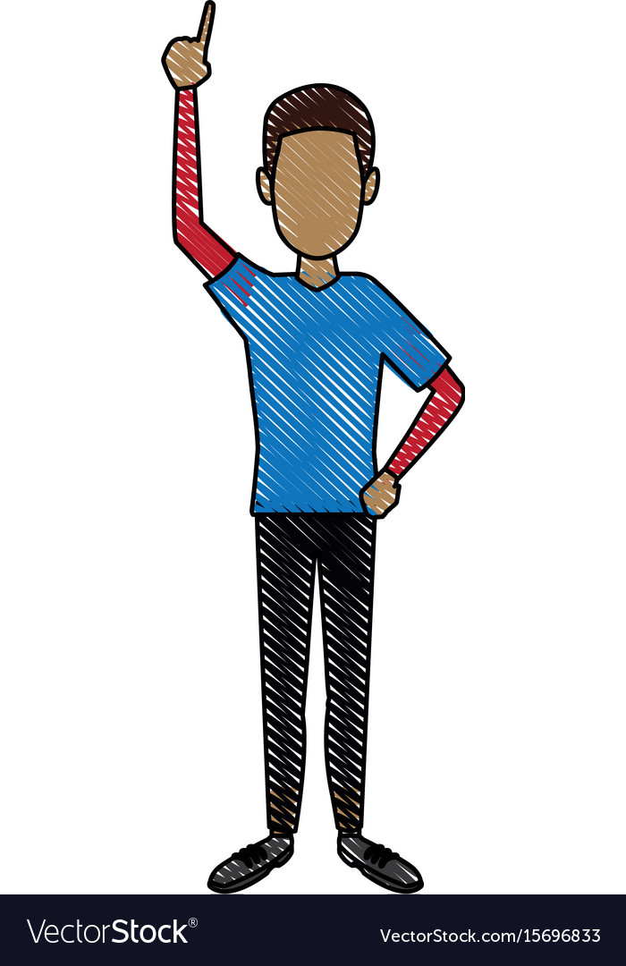 Young man standing cartoon person image