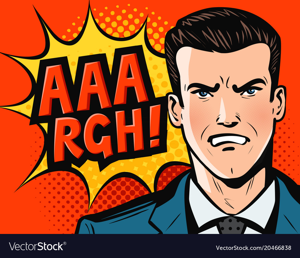 Angry businessman or man in business suit pop art
