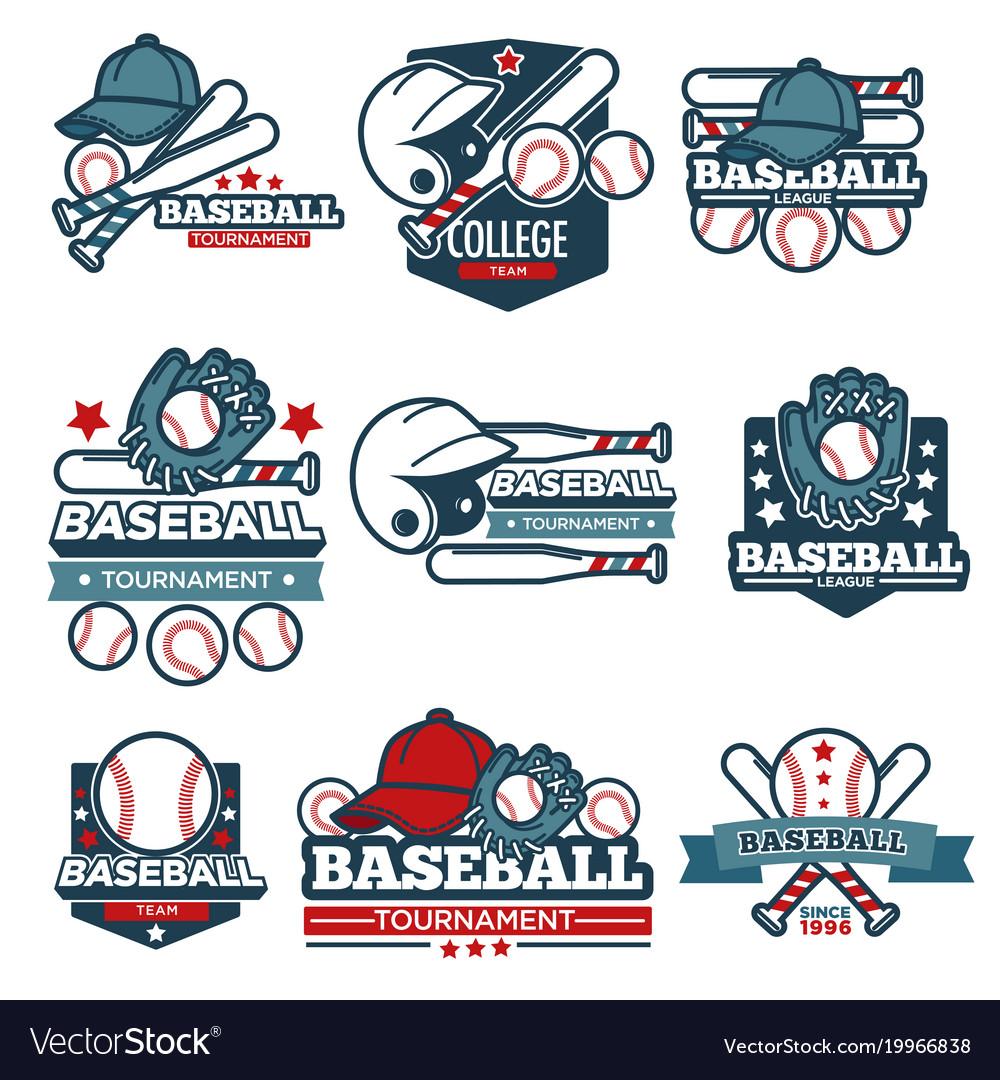 Baseball icon templates set player bat