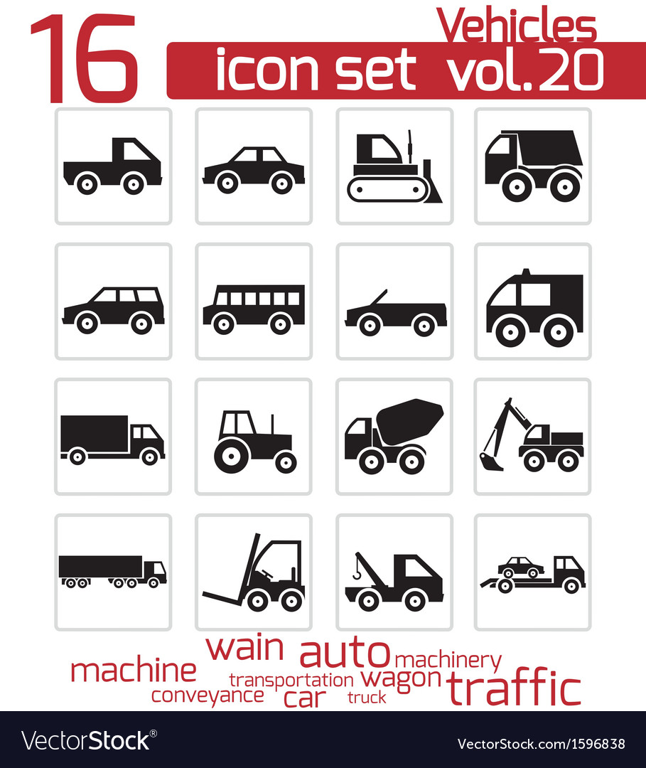 Black vehicle icon set