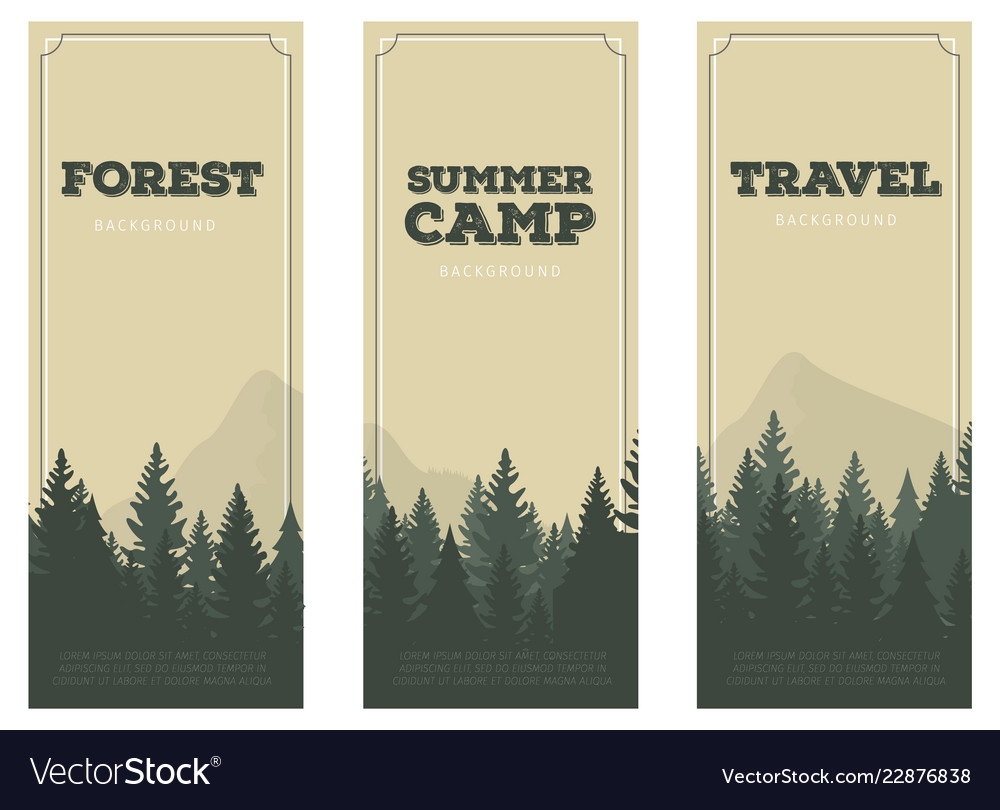 Cartoon silhouette pine forest