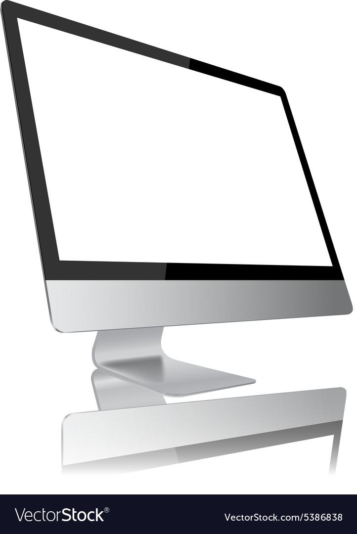Desktop computer modern monitor display design vector image