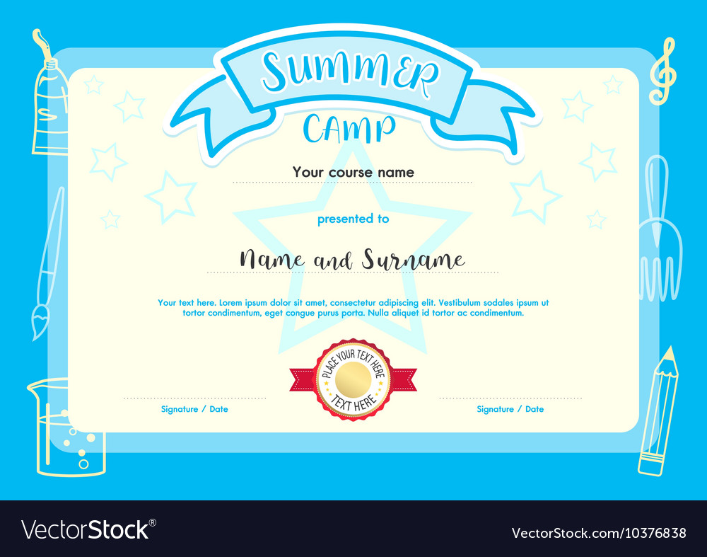 Kids Summer Camp Document Certificate Template Vector Image