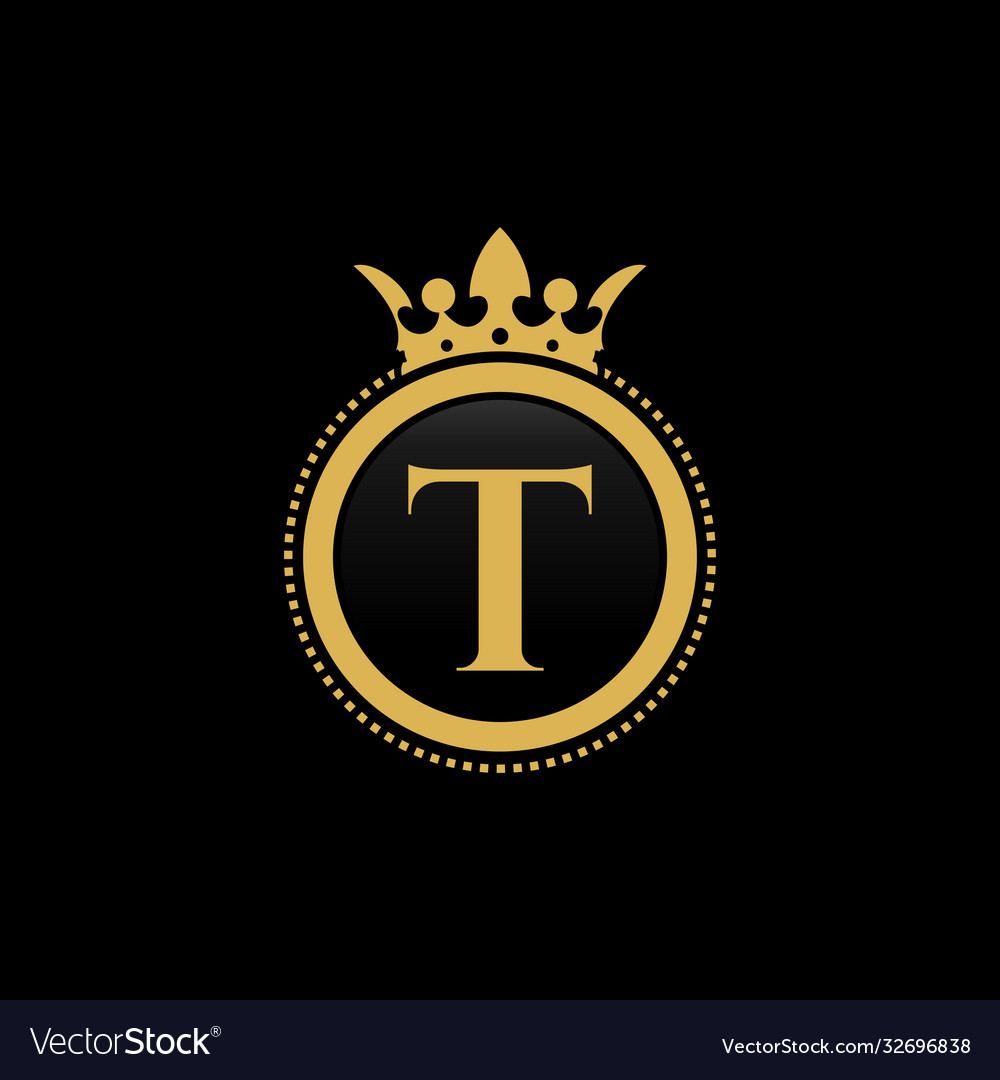 Letter t royal crown luxury logo design