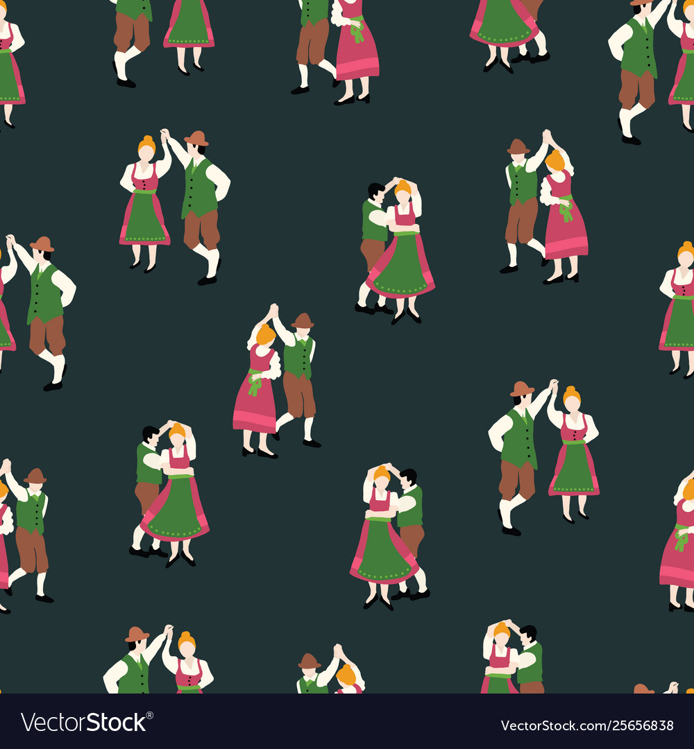Oktoberfest dancing couple drawing seamless