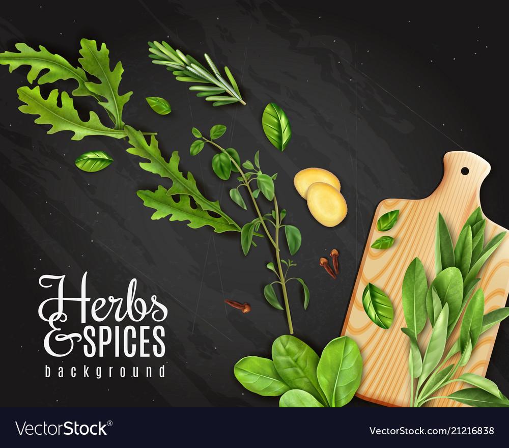 Realistic herbs chalkboard