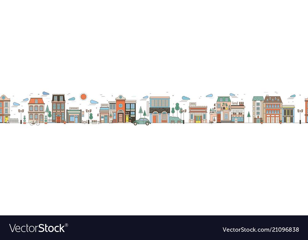 Seamless horizontal urban landscape with city