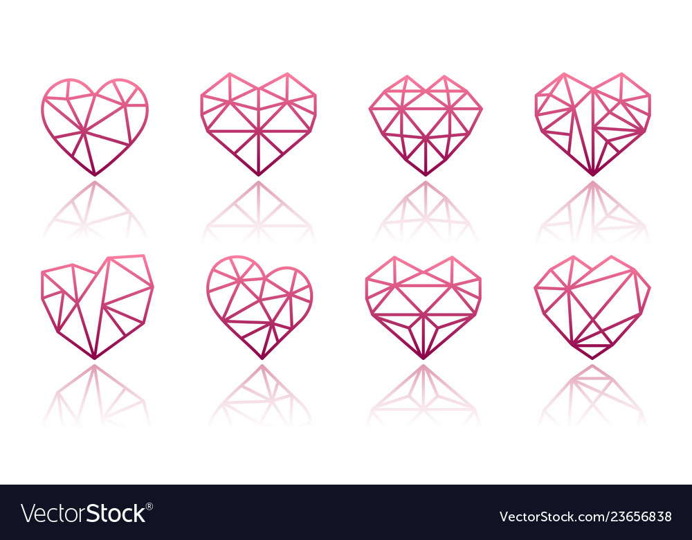 Set polygonal linear heart symbols
