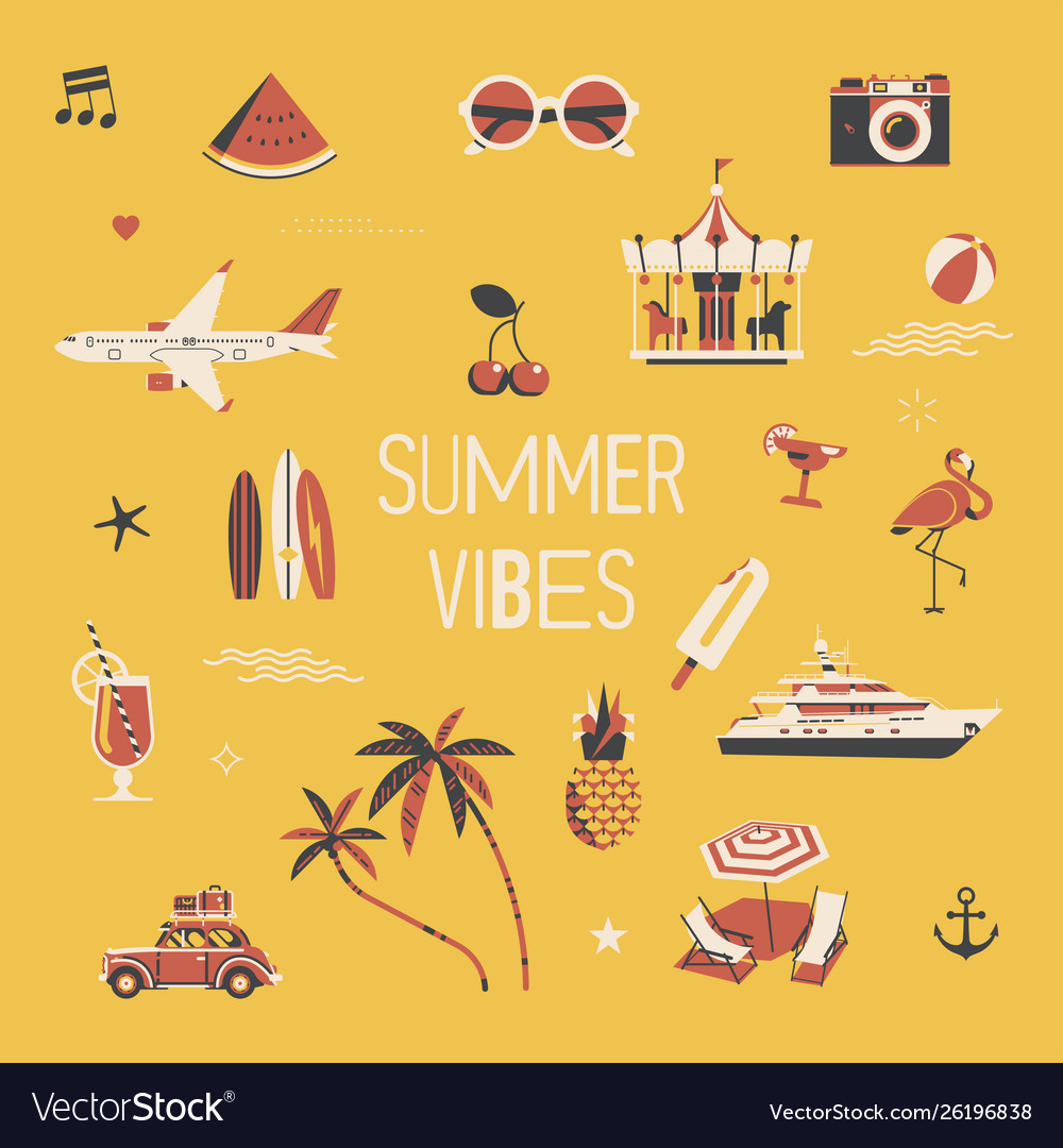 Summer vibers square background