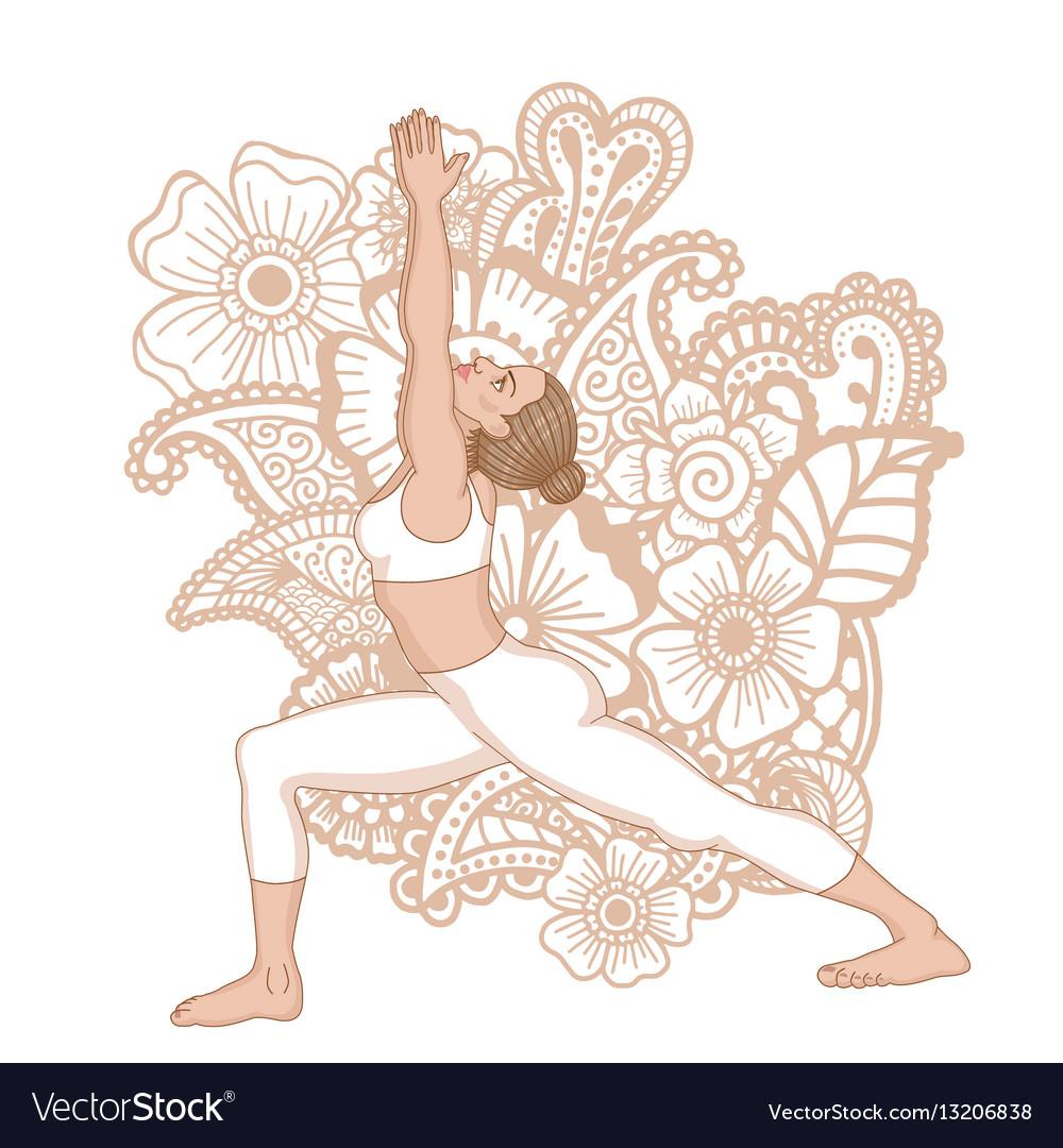 Women silhouette warrior 1 yoga pose