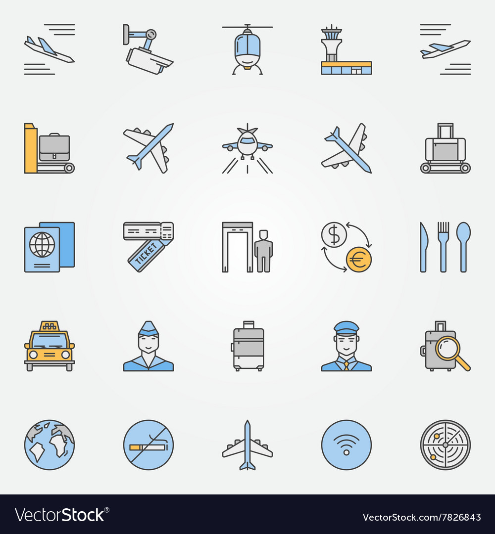 Airport flat icons vector image