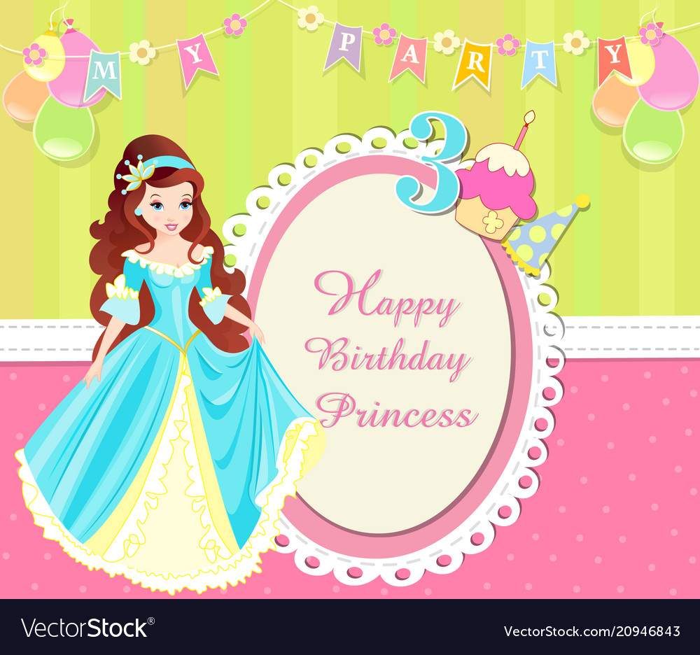 Birthday invitation card with cute princess vector image stopboris Images
